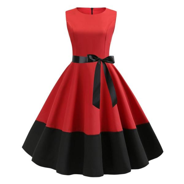 Red Patchwork Women Summer Dress 2020 Pin UP Black Red Vestidos Retro Casual Tank Party Robe Rockabilly 50s 60s Vintage Dresses