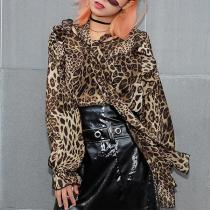 Leopard Print With Ruffled Long Sleeves Blouses