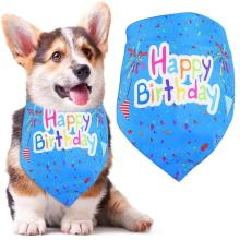 Kapmore 1pc Pet Printing Bandana Lovely Dog Bandana Bib Cat Bandana Bib For Birthday Dress Up Clothing Accessories Pet Supplies