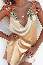 Gold Sleeveless Random Embroidery Sexy V-Neck Mini Dress
