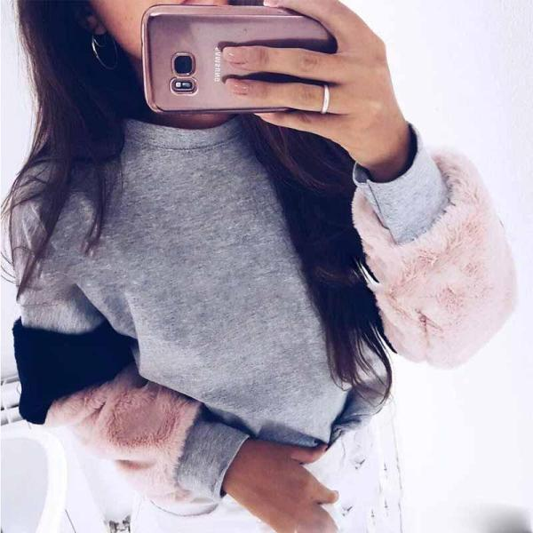 Fashion Patchwork Long Sleeve Blouse