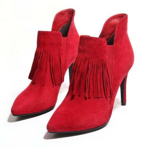 Solid Color Tassels Pointed Toe Low Cut High Heels Short Boots