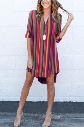 Deep V-Neck  Striped  Roll-Up Sleeve Mini Dresses