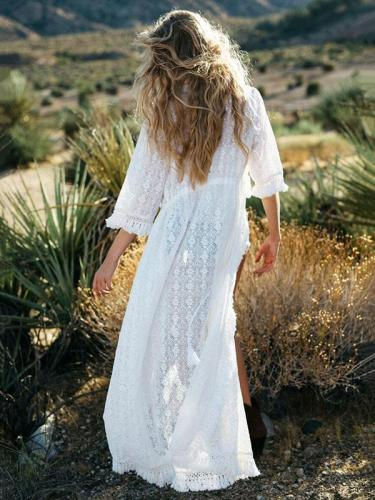 White Tasseled Cover-up Top