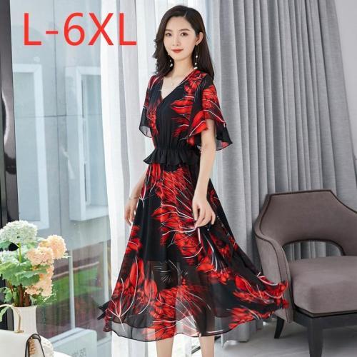 New 2020 ladies summer plus size long dress for women large short sleeve slim casual red print chiffon dress 3XL 4XL 5XL 6XL