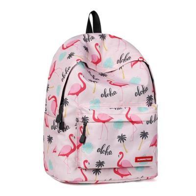 Fashion Women Bagpack Cute Pink Flamingo Animal Printing School Backpack for Teenage Girls Waterproof Knapsack Mochila
