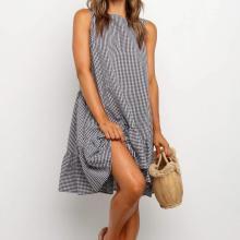 Round Neck Sleeveless Plaid Ruffle Mini Dress