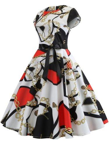 Round Neck Daily  Belt  Printed Maxi Dress
