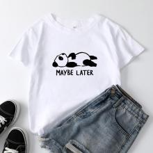 Round Neck Short Sleeve Panda Print