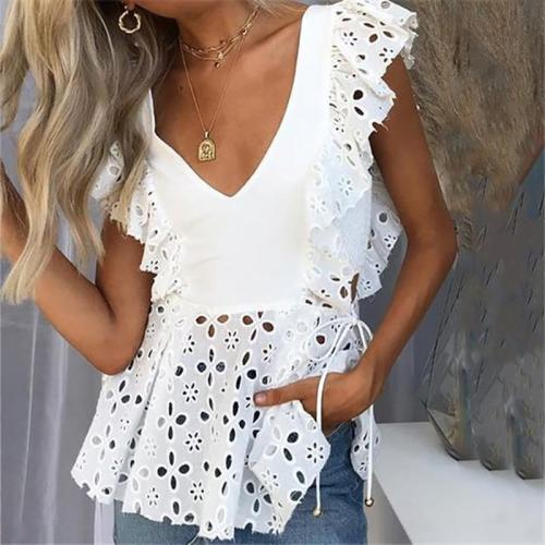 Elegant V Neck Sleeveless Ruffled Hollow Out Belted Splicing Blouse
