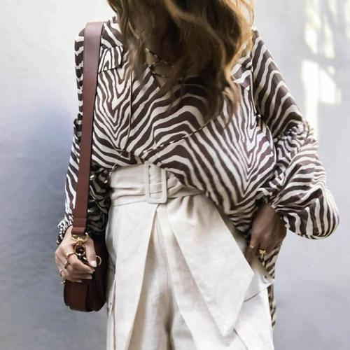 Fashion Loose Printed Chiffon Blouses