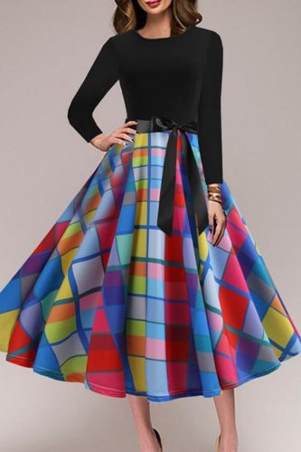 Round Neck  Bowknot  Geometric Printed Skater Dress