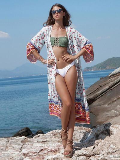 Sun-protected Printed Beach Long Cover-ups