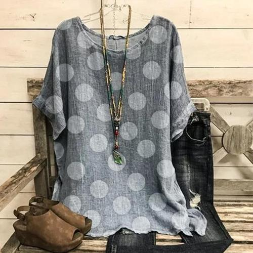 Wave Print Cotton and Linen Short Sleeve Tops