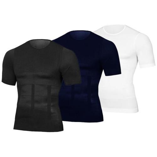 Men Body Toning T-Shirt Body Shaper Corrective Posture Shirt Slimming Belt Belly Abdomen Fat Burning Compression Corset