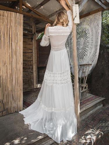 Deep V-neck See-through Puff-sleeves Maxi Dress