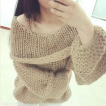 Large Lapel Solid Color Loose Sweater