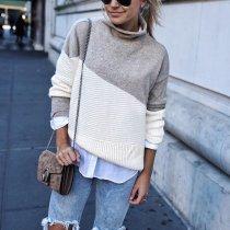 Fashion High Collar Splicing Long Sleeve Loose Knitwear