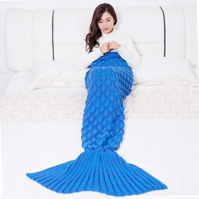 Colorful Mermaid Blanket Handmade Knitted Sleeping Wrap Sofa Blanket Kids Adult Crocheted Bag Bedding Throws Knitted Blankets