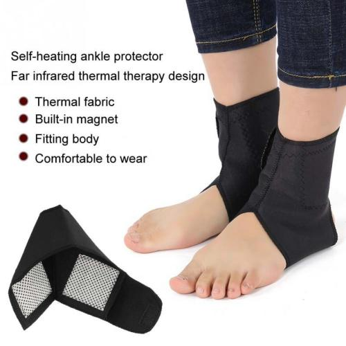 2 Pairs Adjustable Self-heating Ankle Support Brace with Compression Straps For Pain Relief Health Care Foot Brace Supports