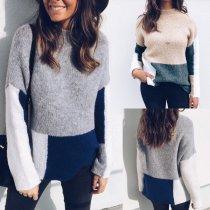 Fashion Round Collar Color Blocking Sweater
