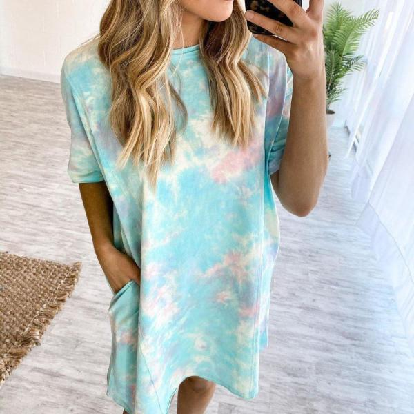 Casual And Comfy Tie Dye Short Sleeve Mini Dress
