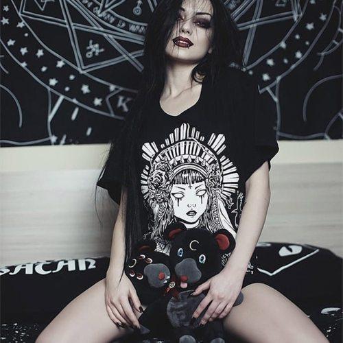 Plus Size Party Dresses Women Street Gothic Style Punk Black Retro Printed Short Sleeve Dress vestidos para mujer de fiesta