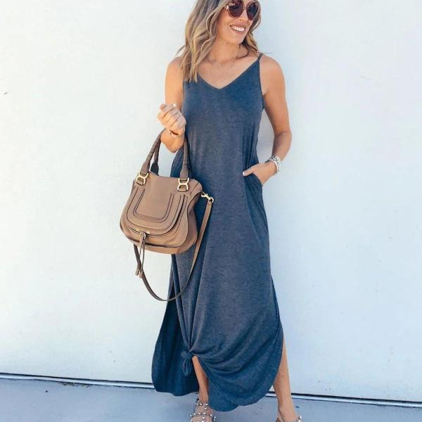 Casual Spaghetti Straps Plain Beach Maxi Dress
