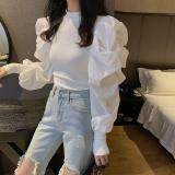 women solid color pleats cascading ruffles patchwork knitted casual slim T-shirts women chic blusas femininas tops