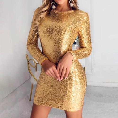 Long Sleeve Sequined Slim Evening Dress