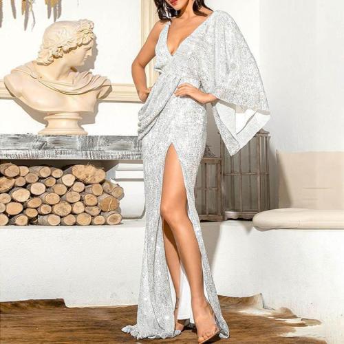 Fashion Sexy Deep V Slit One Shoulder Wrinkle Evening Dress