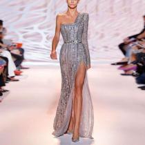 Fashion One-Shoulder Long-Sleeved Solid Color High Slit Dress