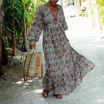 Women's V-Neck Long Sleeve Dress