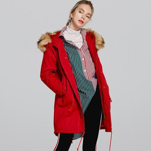 Faux Fur Collar Drawstring Pockets Women Loose Oversized Coat