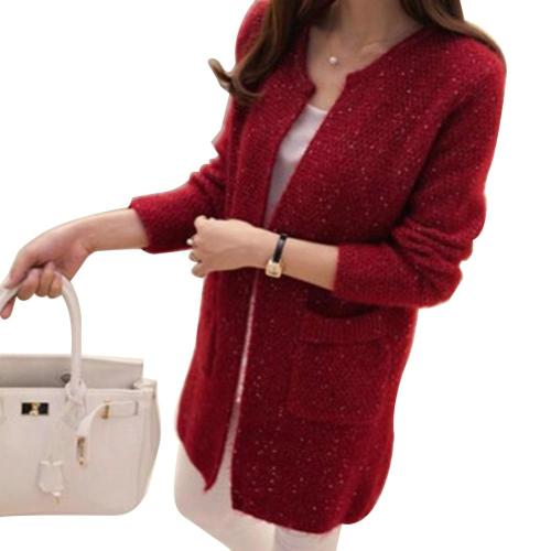 Winter Warm Fashion Women Solid Color Pockets Knitted Sweater Tunic Cardigan