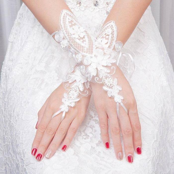 Cheap Pearls Wedding Accessories Long Gloves For Wedding Elbow Length Gloves Women White Sequin Applique Bridal Fingerless Glove