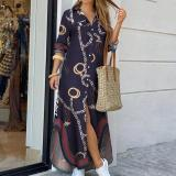Women Turn-Down Collar Shirt Long Dress Summer Button Chain Print Dress Casual Autumn Long Sleeve Beach Maxi Dress Vestido 4XL
