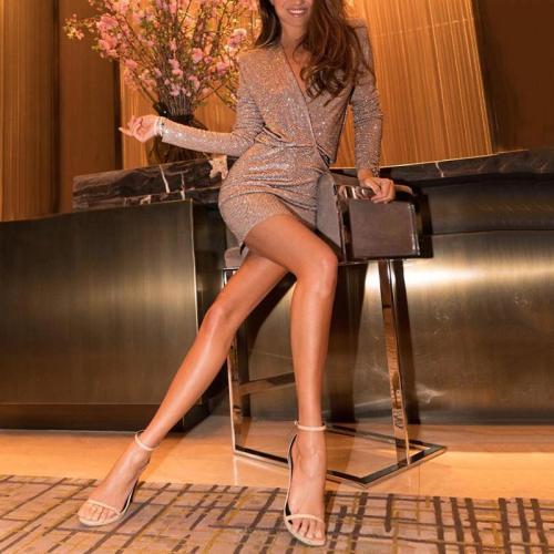 Women's Sexy Deep V-Neck Pure Color Long Sleeve Mini Dress