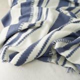 Blanket Knitting Blue White Thread Blanket Small Fresh Decoration Sofa Blanket Summer Air Conditioning Blanket Household Goods