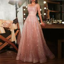 Fashion Round Collar Sleeveless Gilding Evening Dresses