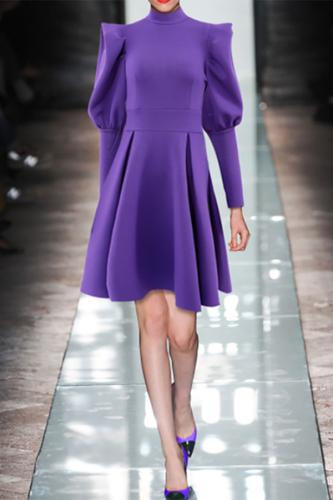 Casual High Collar Pure Colour Slim Mini Dresses