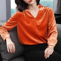Casual Simple Loose   Golden Velvet Long Sleeve Shirt Blouse