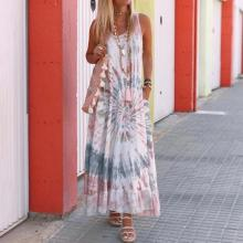 EBUYTIDE Fashion Pink Round Neck Sleeveless Tie Dye Loose Maxi Dress