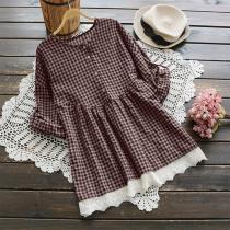 Check Plaid Pleated Blouse