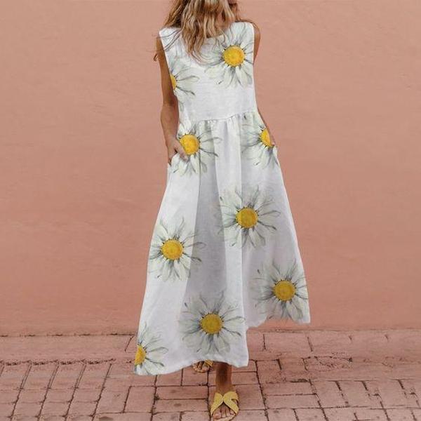 EBUYTIDE Chic Round Neck Sleeveless Printed Maxi Dress