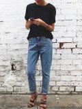 High-Waisted Wash Jeans  Pants