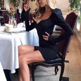 Elegant V-neck Slim Temperament Long-sleeved Dress