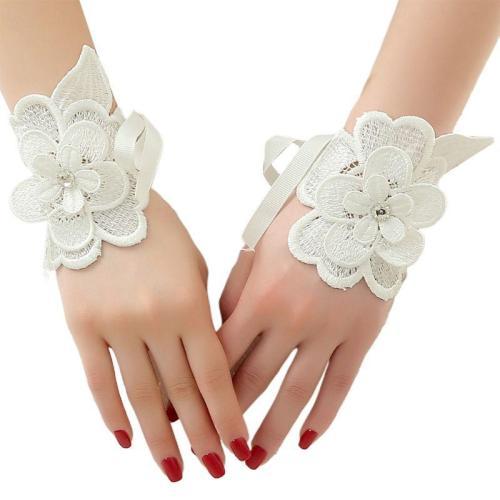Womens Layered Embroidery Peony Flower Applique Wedding Gloves Rhinestone Fingerless Mittens Adjustable Ribbon Wristband