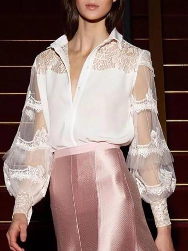 Fashion lace perspective blouse