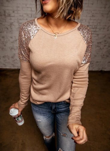 Color Block Sequin Round Sleeve Sweatshirt